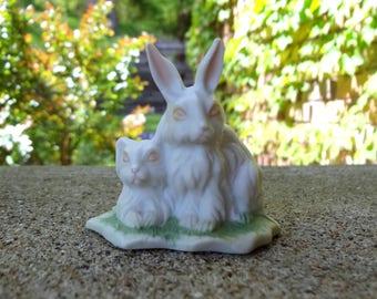 White Rabbit With Bunny Figurine