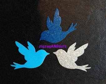 24 Glitter Dove Diecut, Bird Confetti, Many Colors, Party Decorations, Scrapbooking, Cardmaking