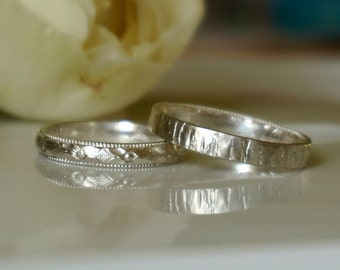 Floral Wedding Rings for Lesbian, Silver Band Ring, Hers Ring Set , Women Wedding Ring, Friendship Rings, Narrow Band Rings, b105