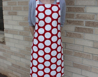 Red and White Large Polka Dot Apron