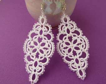 White earrings Wedding earrings Lace earrings Bohemian  earrings Bridal Earrings Tatted Earrings  Long earrings Statement earrings