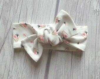 Modern Baby Knotted Headband / Baby Headband / Knot Headband / Modern Floral / Neutral Colors