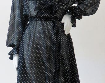 1970s Sheer Cotton Day Dress w/ Ruffle Details and Polka Dot Print by Amy Deb