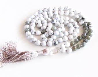 Labradorite Mala Necklace Howlite Mala 108 Mala Necklace Yoga Necklace Meditation Necklace Tassel Necklace Prayer Beads Gift