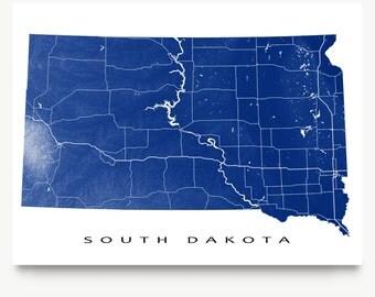 South Dakota Map Print, South Dakota State Art, USA