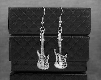 Silver Guitar Earrings -Music Jewelry -Music Lovers Gift -Dangle Earrings