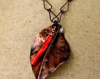 Copper Leaf Pendant Necklace, Unique Autumn Leaf Necklace, Fold Formed Copper Leaf Pendant Necklace, Nature Jewelry