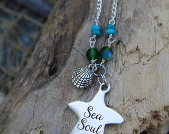 Sea Soul Silver Charm Necklace - Beachwear - Beach Jewelry - Mermaid Jewelry - Beach Ready - Coastal Necklace - Mermaids - Summer Fun