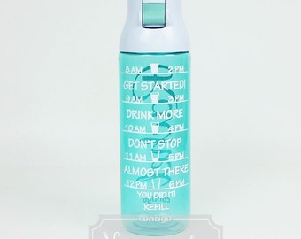 Personalized Water Bottle Inspirational- Motivate Me  Contigo TEAL -Turquoise Green Blue