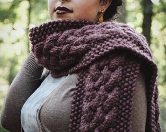 Chunky Cable Knit Long Briaded Scarf || THE REDWOOD