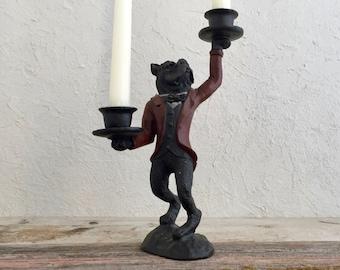 Cast Iron Bulldog Candle Holder, Bulldog Butler Candlestick Holder