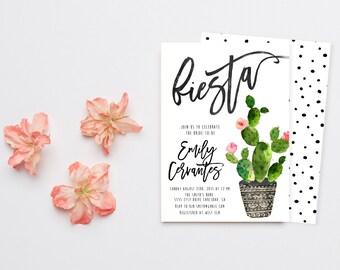 Fiesta Bridal Shower Invitation, Cactus, Watercolor, Calligraphy, Printable Invites (727)