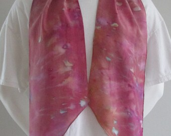 Snow Dyed Crepe de Chine Silk Scarf with Bias Cut Ends: Dark Pink/Rose with Turquoise, Green, and Golden Yellow Accents