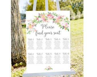 seating chart, Pink seating chart, Wedding seating chart, printable seating chart,  wedding seating charts, engagement seating chart
