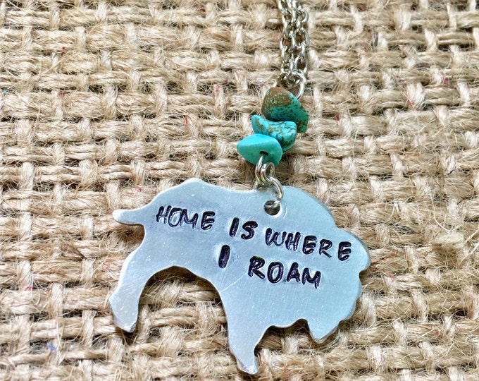 Buffalo Necklace, Bison Necklace, Home is Where I Roam, Roam Buffalo Pendant, Wyoming Necklace, Animal Necklace, Stamped Necklace