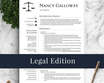 Legal Resume Template For Word U0026 Pages | Lawyer Resume | Attorney Resume  Template | INSTANT  Lawyer Resume Template