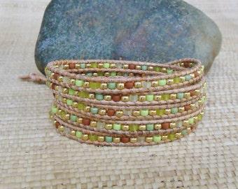 Seed Bead Wrap Bracelet: Spring Green Mix/Beaded Leather Wrap Bracelet/5 Wrap Bracelet/Layering Bracelet/Green Wrap Bracelet/3rd Anniversary