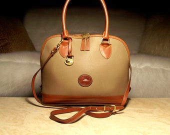 RESERVED 5-15-17 Rare Dooney & Bourke All Weather Leather R144 Taupe/Brit Tan Medium Domed Satchel Crossbody: Understated Demure Vintage