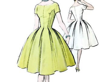 Vintage 50s Advance 9364 Full Fitted Dress Sewing Pattern Size 14