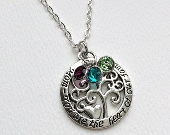 Mom Necklace/ Mom Tree Of Life Necklace/Mothers Day/ Personalized/ Mom Gift /Grandma Gift
