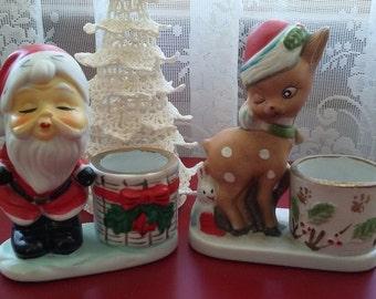 Kissing Santa & Winking Reindeer set of 2 Vintage hand painted porcelain candleholder 1970's Christmas decorations kitsch candy cane holder