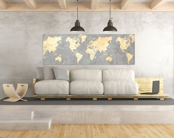 World map canvas print vintage light white gray neutral map world map canvas print vintage gray ivory cream neutral world map panoramic extra large long wall gumiabroncs Images