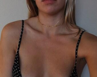 ALLISON   Dainty Gold Ball Choker Necklace- Gold Layering Necklace- Gypsy Jewelry- Layering Choker