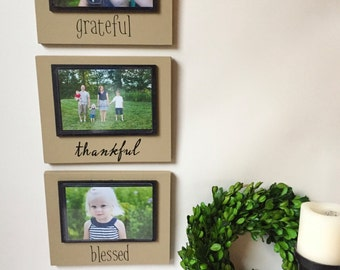 Picture Frame Set - Rustic Frame - Wood Frame - Wood Signs - Grateful Thankful Blessed - Grateful Sign - Rustic Home Decor - Rustic Frame