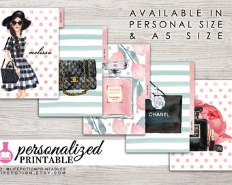 Printable Planner Dividers - A5 or Personal Size - Personalized - Set of 5 - Design: Flirty Girl