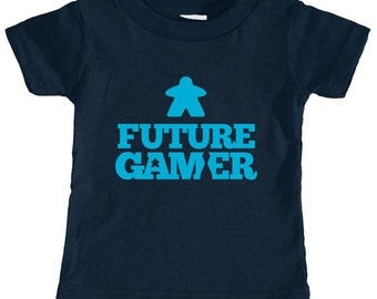 Future Gamer Toddler Tee Shirt (Blue Letters) | toddlesr pre-school baby kids babies tee shirt | new geek parents | board game geeks