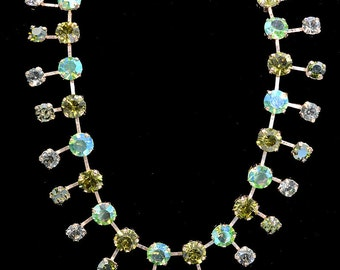 Multi hued 2 tiered green crystal necklace