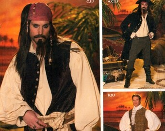 2004 Simplicity 4923 Pirates of the Carribean, Jack Sparrow Style Costumes for Adults, Uncut, Factory Folded, Sewing Pattern Size XS-S-M