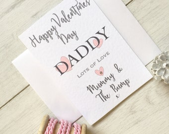 Personalised Daddy Valentine Card, Daddy From Bump, Daddy to be Card, From the Bump Card, Valentine from Bump, Valentine Bump Card,