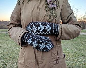 Hand knit wool acrylic mittens, nordic mittens, knit wool mittens, warm mittens, wool mittens nordic, handknit mittens, fingerless gloves