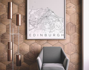 Map of Edinburgh - Scotland Decor - Map ART - Edinburgh Poster - Scotland Print - Scandinavian Art - Travel Map - Scotland Travel Poster