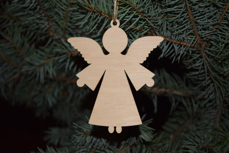 A Set 5 Wood Shape Christmas Angel Toy On The Tree Blank