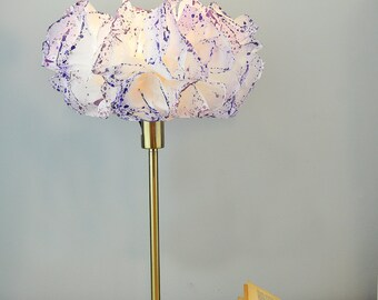 Paper Lamp shade, White & Purple Floor Table Lamp, Rustic Floor / Desk Light, Romantic Bedroom Lighting, Bedside Nightstand Purple Lamp