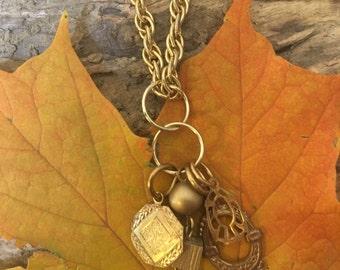 Long gold pendant necklace (brassy gold)