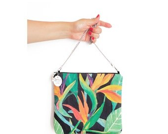 Tropical bag / Summer Crossbody Bag /  Womans purse / Evening bag / Ladies bag / bag with strap / Bag with tropical flower pattern