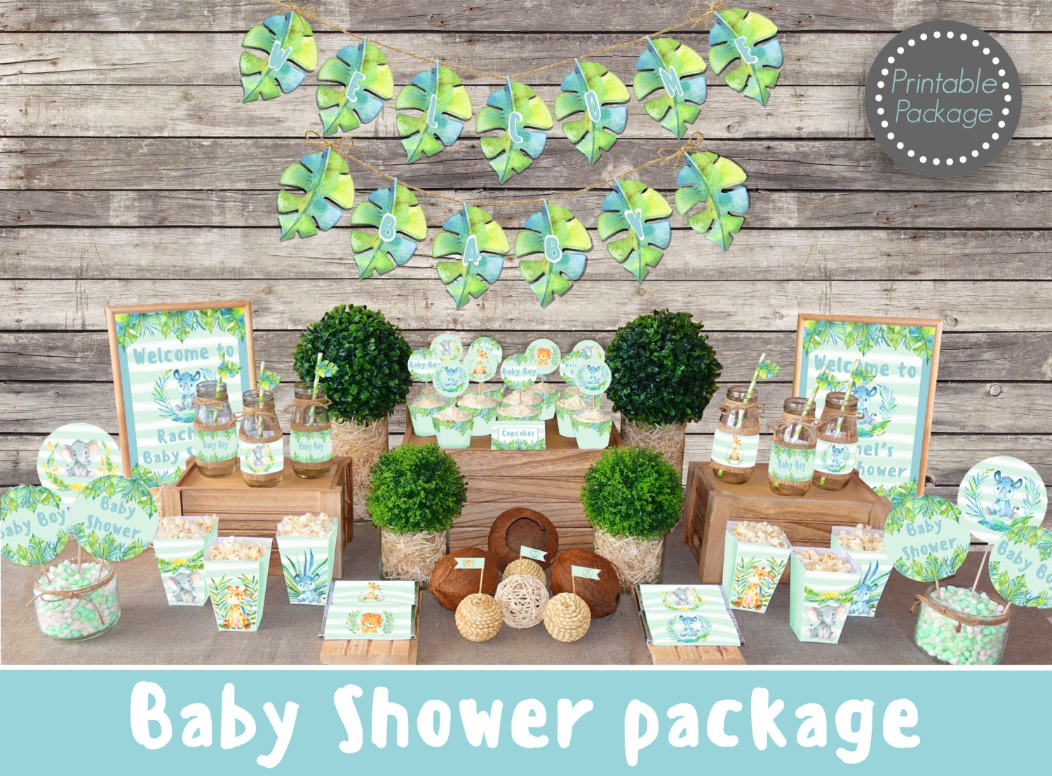 Safari jungle baby shower decorations printable boy baby for Baby shower safari decoration