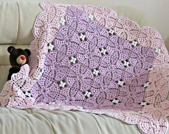 Newborn baby girl crochet blanket handmade cotton baby blanket throw new baby shower gift purple pink nursery bedding unique baby girl gift