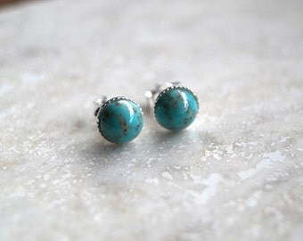 Turquoise Stud Earrings, Sterling Silver Stud Earrings