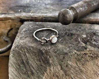 Engagement Ring Bridesmaid Gift Wedding Gift Rose Gold Tie The Knot Ring Will You Be My Bridesmaid Gift Opal Ring Sterling Silver Ring