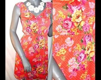 Pinup Retro Floral/Polka Dot Print Sleeveless Ruffle V-neck Above Knee Length Dress M