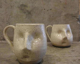 Hand sculpted freckled face mug - Linen white
