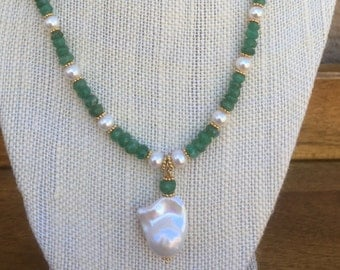 Genuine flameball pearls, emeralds, gold fill, vermeil necklace and earrings