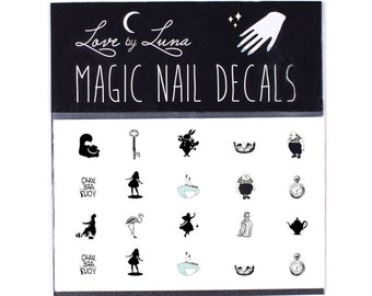 Original Alice in Wonderland Nail Decals / Vintage Alice in Wonderland Nails / Through The Looking Glass / Lewis Caroll Nail Decals