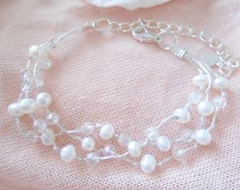 Pearl Bracelet, Freshwater pearl Bracelet, Wedding Bracelet, Bridesmaid Bracelet, Girl Bracelet