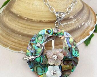 Round Paua Shell Pendant Necklace - Abalone Shell  Pendant Jewelry With Enamel Flowers - Nature Inspired Paua Shell Jewelry
