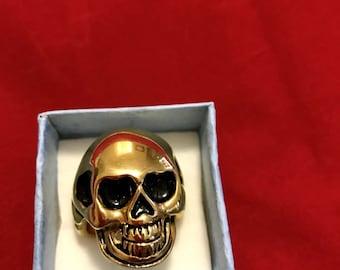 Gold Skull Ring with Black Details